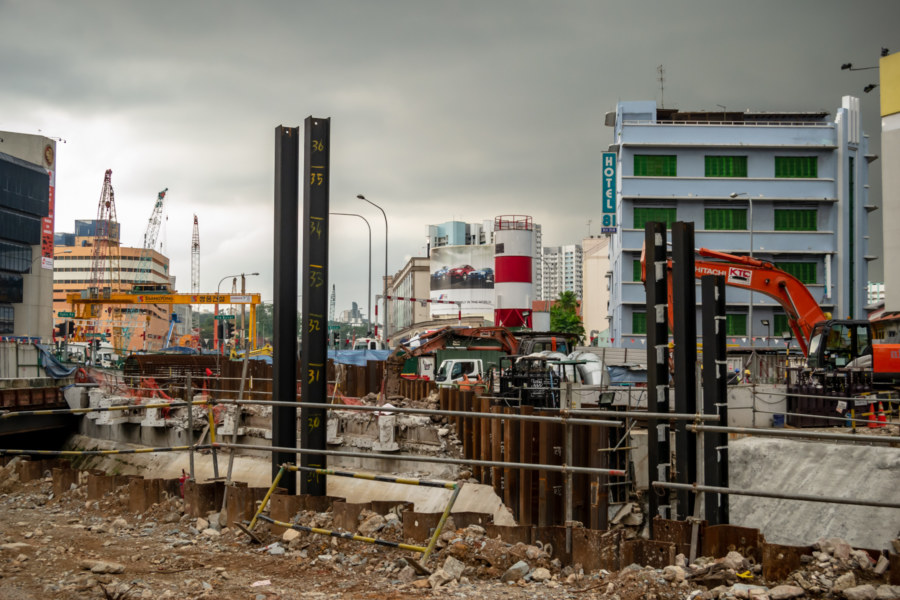 A Construction Project Outside of Little India in Singapore