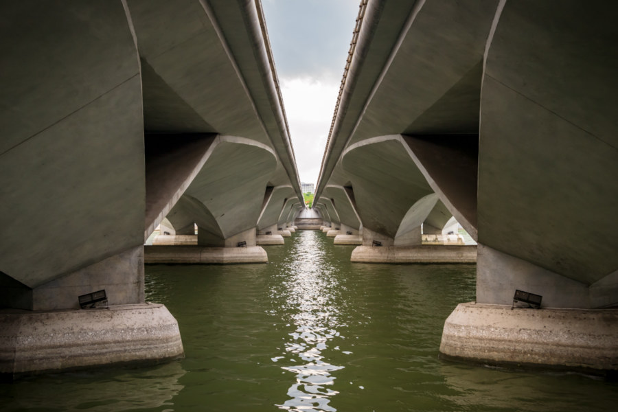 Beneath the Esplanade Bridge in Singapore