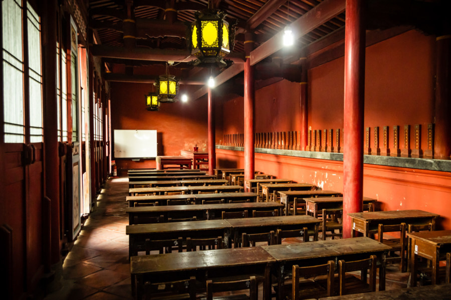 One of the classrooms at the Confucius Temple in Changhua City