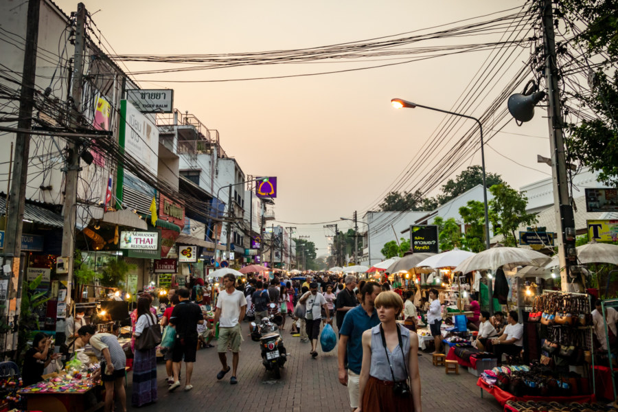 Chiang Mai Night Market at Dusk