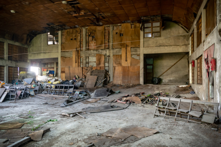 Interior View of a Derelict Theater in Guanshan