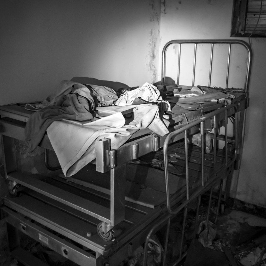 Hospital Beds in an Old Theater