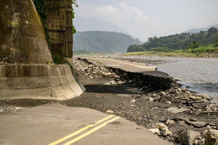 Asphalt Road Erosion Along Zhoushui River