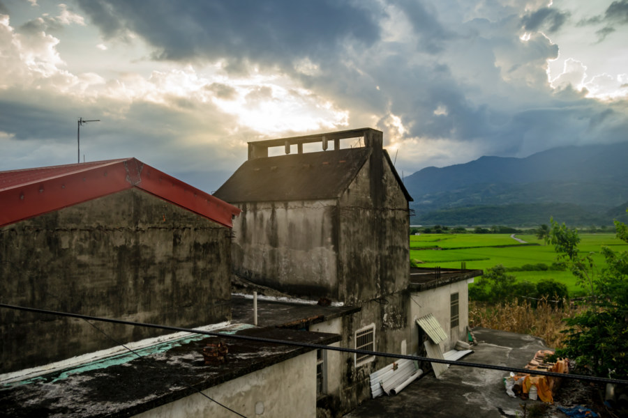 Sunset Over a Huadong Valley Tobacco Barn