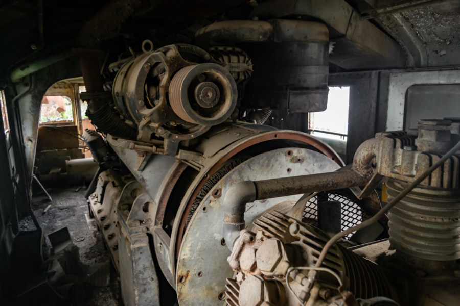 Engine Room of a Derelict Train in Bang Sue