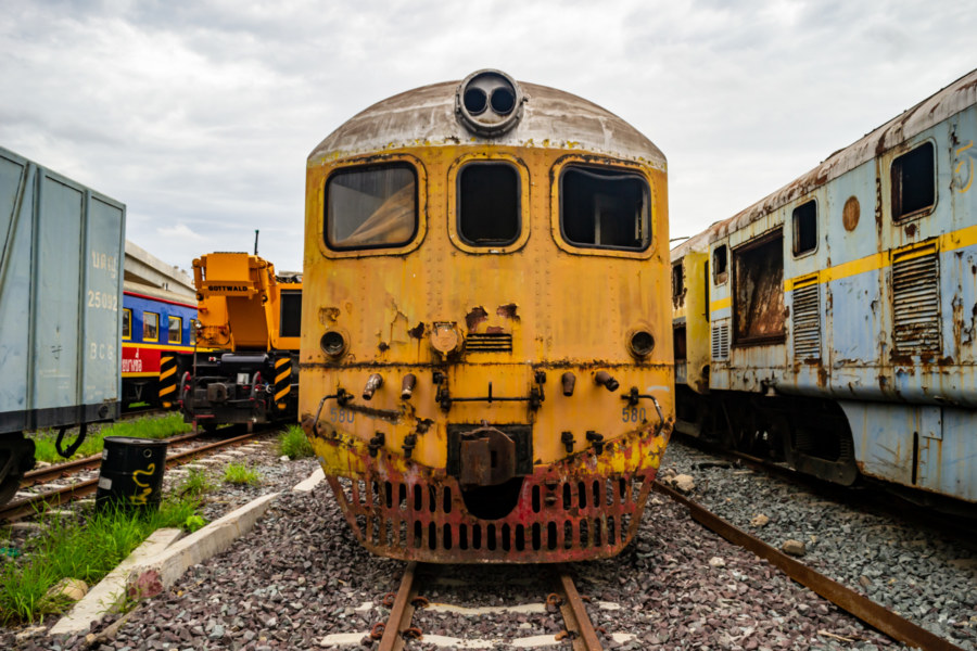 Yellow Engine at Bang Sue Railway Cemetery