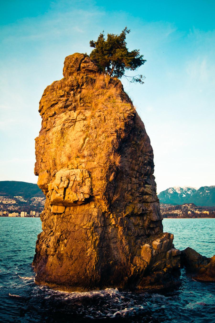 Siwash Rock At Sundown