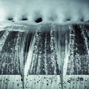 Water rushing down Cleveland Dam