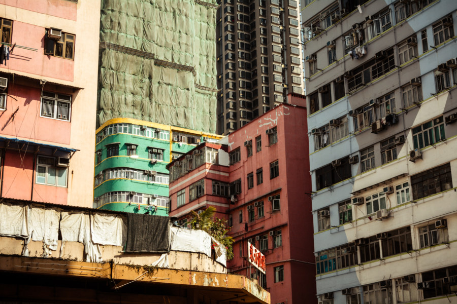 A jumble of buildings in Kowloon