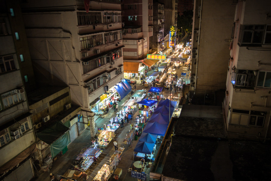 Temple Street Market from above