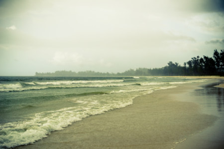 Pantai Kalampunian in the afternoon rain