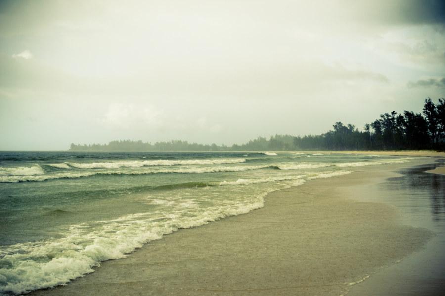 Pantai Kalampunian in the afternoon rain