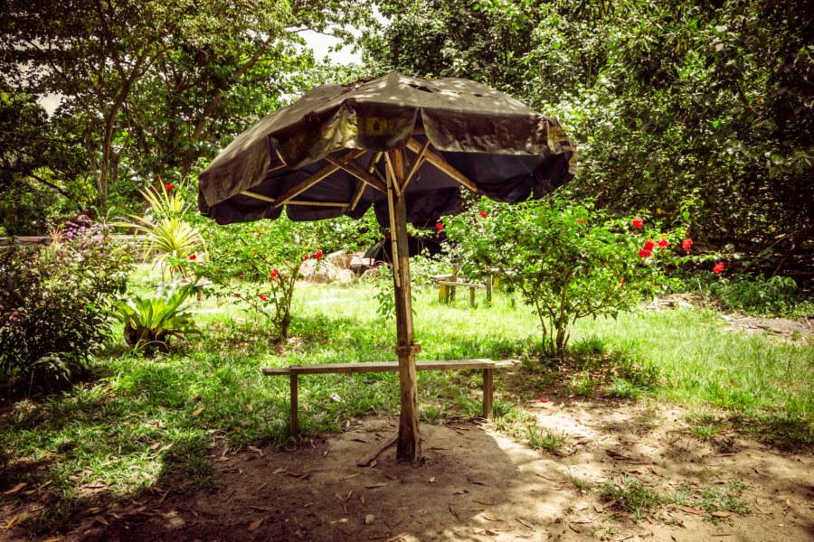 A decrepit umbrella on Pulau Besar