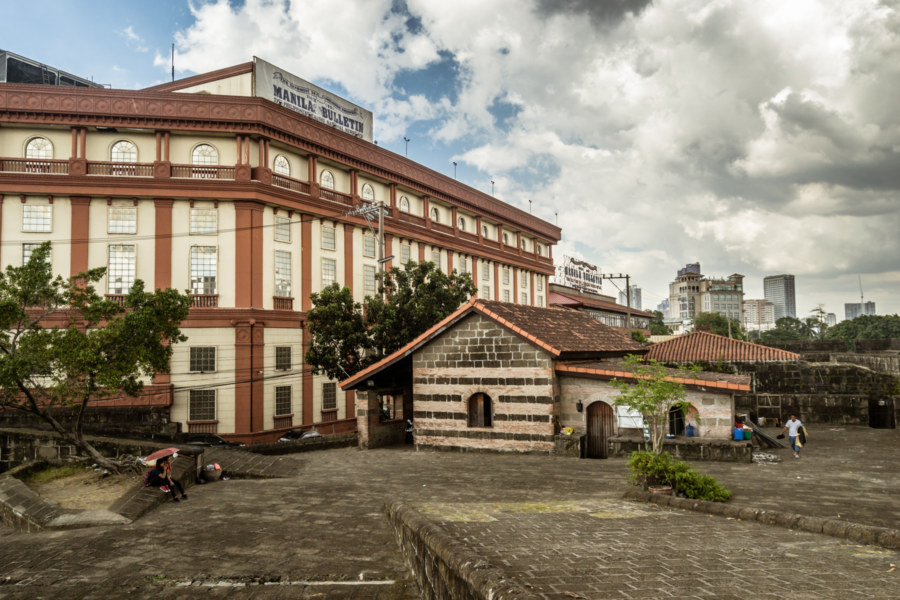 Manila Bulletin and the outer walls of Intramuros