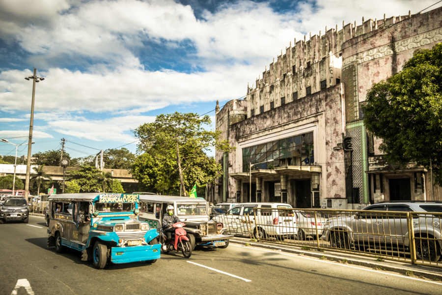 Traffic in front of the Metropolitan Theater