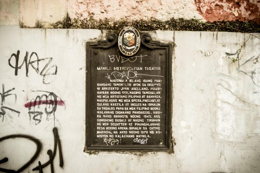 Manila Metropolitan Theater information plaque