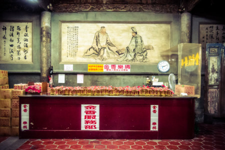 Incense and paper money counter at Mazu temple, Lukang