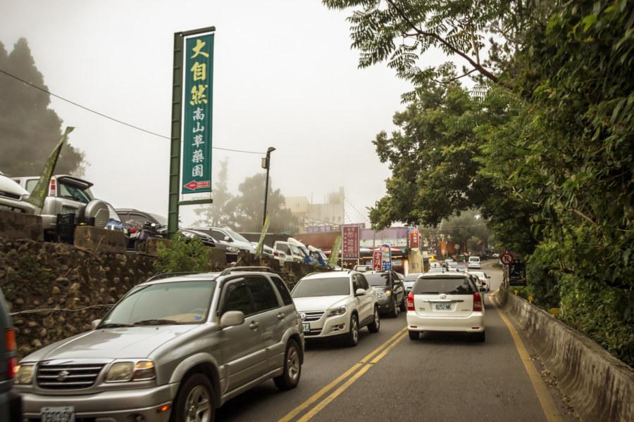 The traffic heading into Qingjing Farm