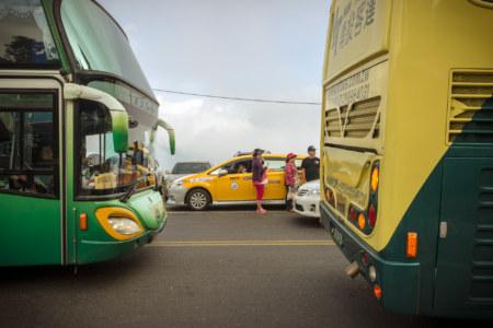 Group tour buses at Qingjing Farm