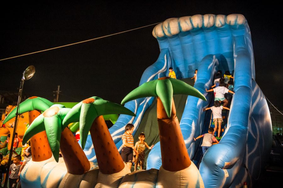 Bouncy castle at Jingcheng Night Market