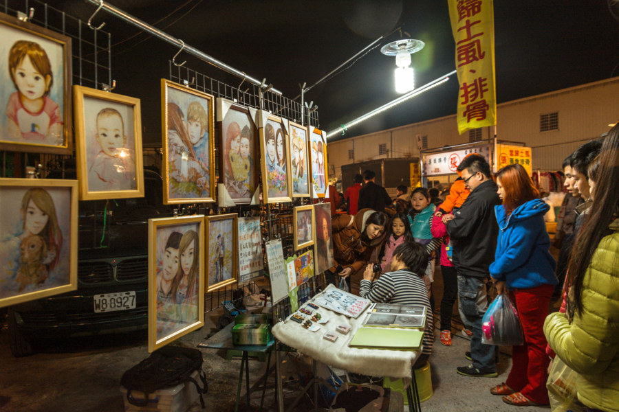 Night market artist in Changhua