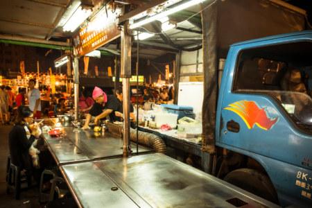 Teppanyaki out of a truck at Jingcheng Night Market