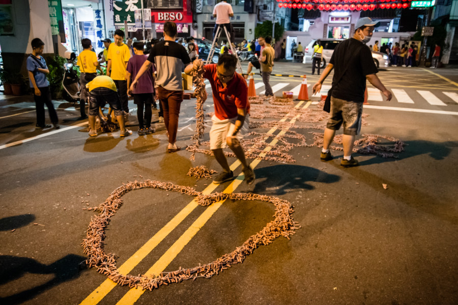Firecracker art on the streets of Changhua City