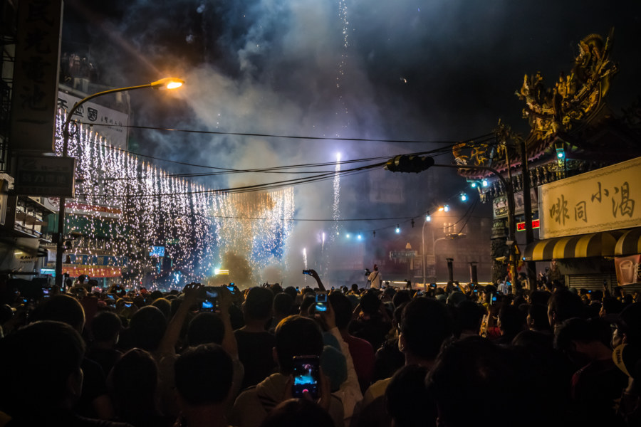 A curtain of lights to welcome Mazu