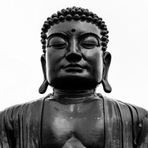 The Big Buddha of Baguashan in black and white