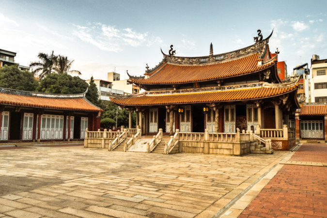 Inside the courtyard at the famous Changhua Confucius Temple