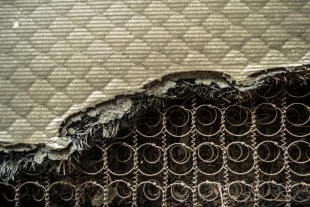 A mattress torn asunder