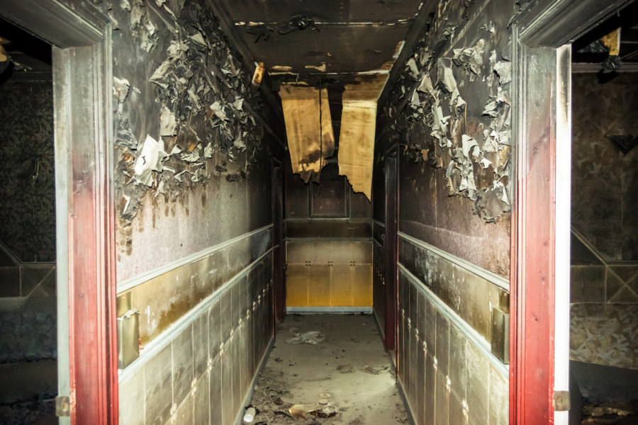 Fire damage at a KTV inside the Qiaoyou building