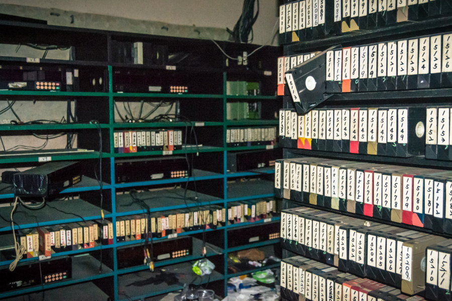 The tape room at the Qiaoyou building