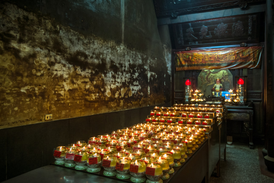 Inside old Dingguang Temple in Changhua City