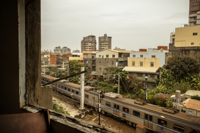 The railway line from an abandoned building in Changhua City