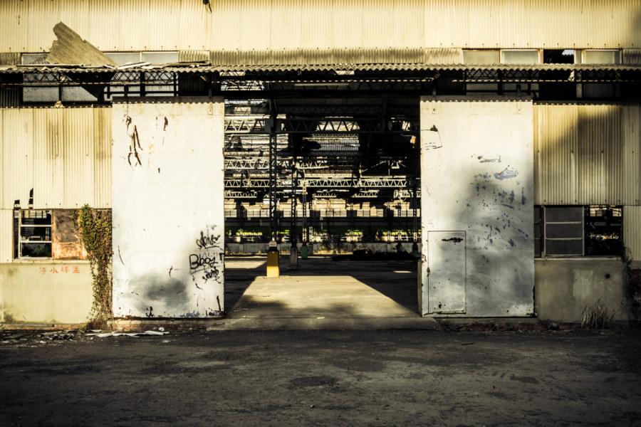 Gigantic factory doors at the automotive plant