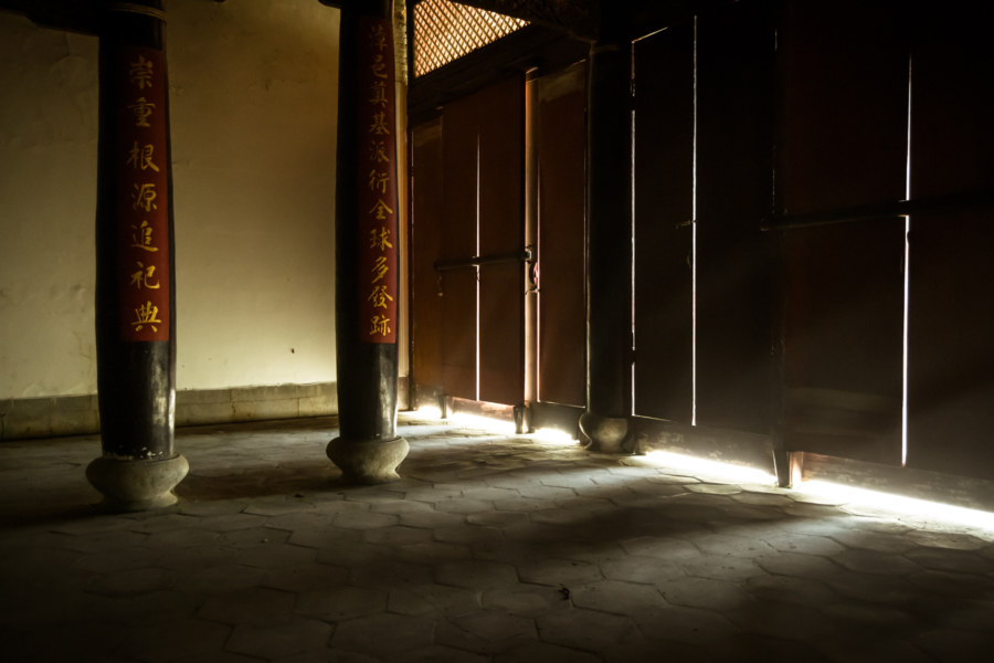 Sunlight seeps into the ancestral hall