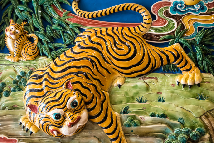 Tiger mural in Yuqu Temple