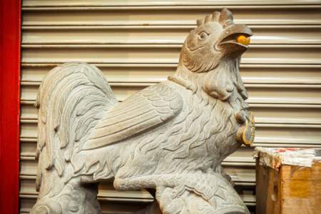 Stone rooster at Yuqu Temple