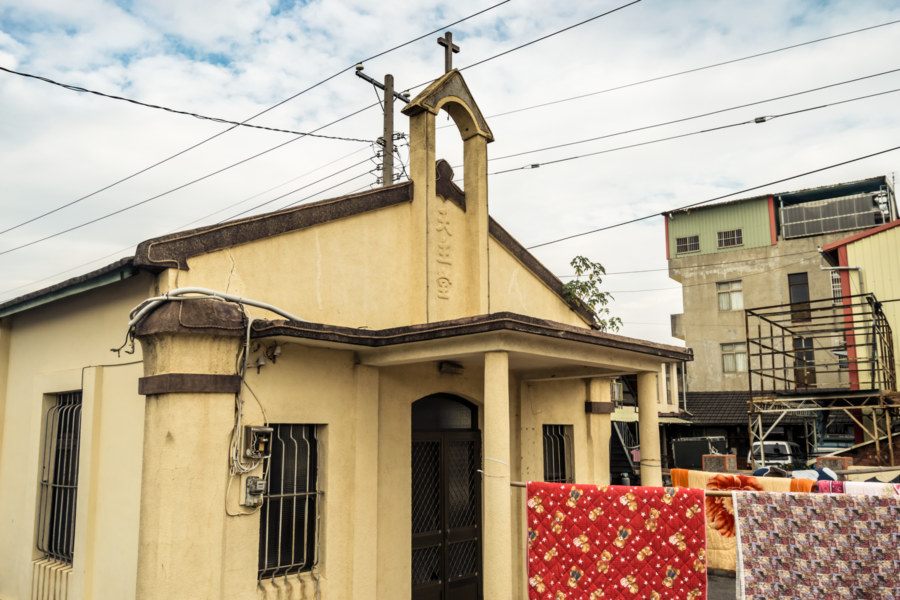 An oblique view of Bafen Catholic Church 八分天主堂