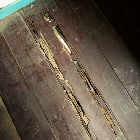 The street below is visible through cracks in the floorboards