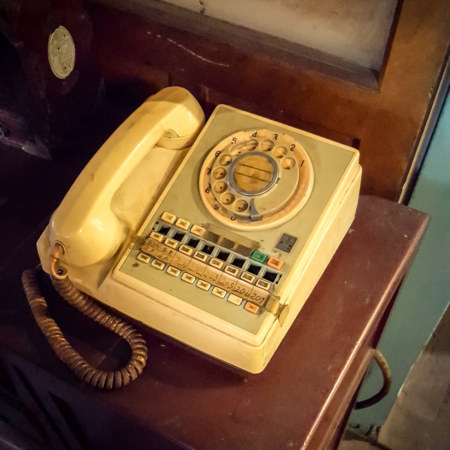 An old rotary phone at the Chenggong Hostel