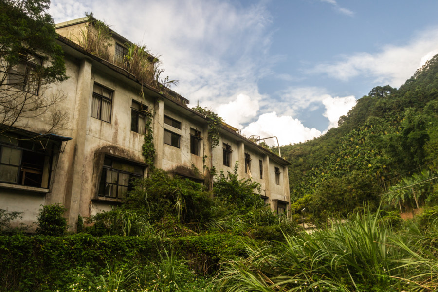 Around back at an abandoned hotel in Hsinchu County