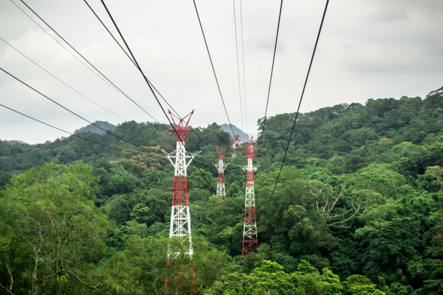Aerial tramway line in rural Hsinchu