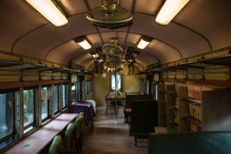 Inside an old train carriage