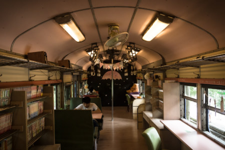 A restaurant in an old train in Hengshan Township