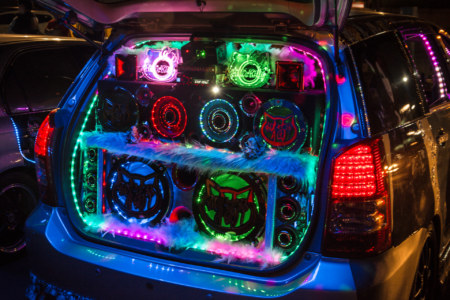Tricked out cars at Kaisyuan Night Market