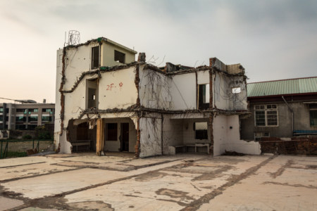 Gutted and abandoned in the old walled city of Zuoying