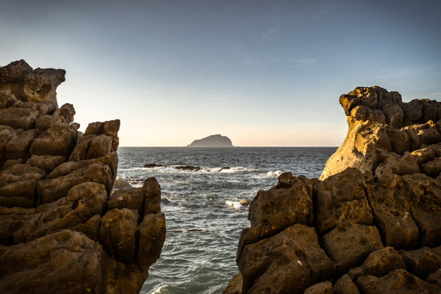 The rocky shores of Badouzi perfectly frames Keelung Islet