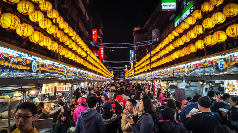 The famous lanterns of Miaokou Night Market